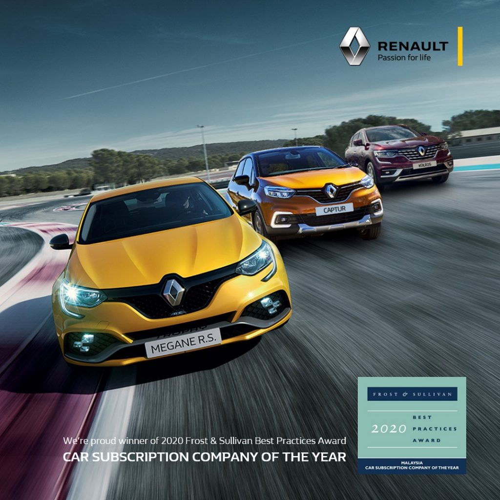 Renault's Subscription Programme Bagged the 2020 Frost & Sullivan Asia Pacific Best Practices Awards