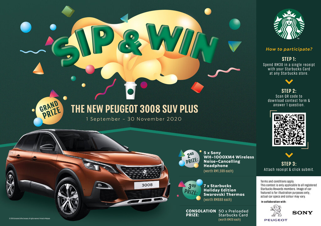 Win A Peugeot 3008 Plus With Starbucks Sip And Win Contest