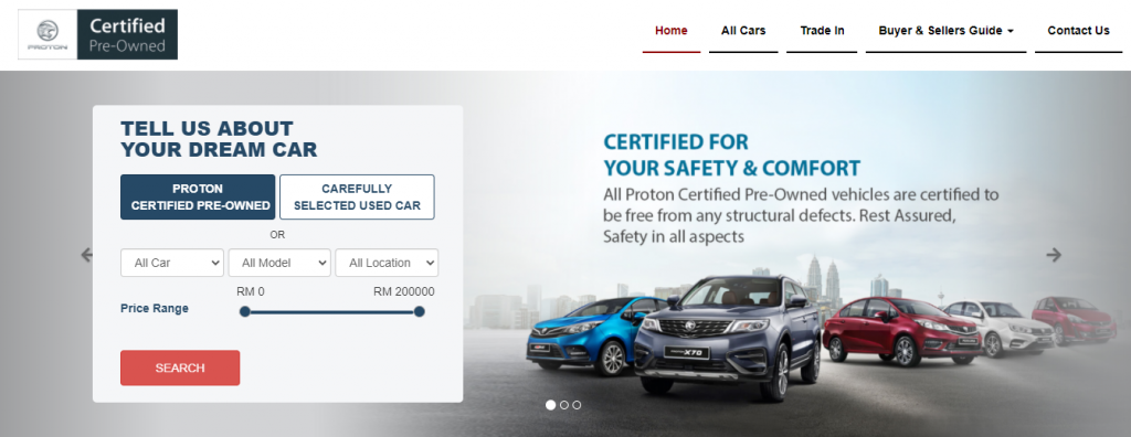 Proton's Certified Pre-Owned Website